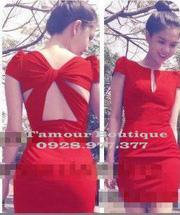 Ảnh số 14: Đầm đỏ tay con chéo lưng NGỌC TRINH - Giá: 400.000