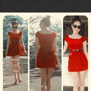 Ảnh số 16: Đầm đỏ nhung ngọc trinh - Giá: 400.000