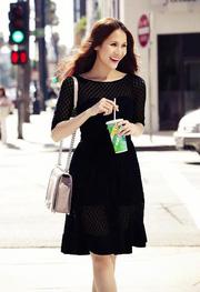 Ảnh số 23: Đầm xòe đen ren bi tay lửng THÁI HÀ - Giá: 420.000