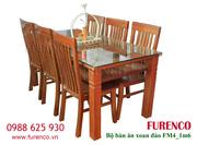 Bộ bàn ăn gỗ Xoan Đào Gia Lai, ban an gia dinh, ban an go xoan dao