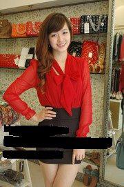 Ảnh số 18: áo somi cổ thắt nơ, tay voan, thân cotton 150K , con màu đen - Giá: 150.000