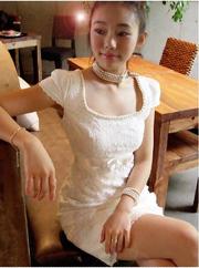 Ảnh số 34: Đầm ren trắng cổ rộng A13264 - Giá: 185.000