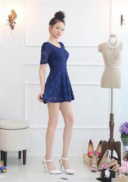 Ảnh số 55: Đầm ren màu xanh DN54 - Giá: 280.000