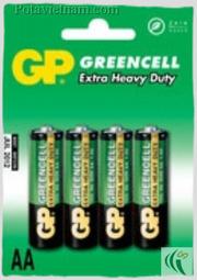 Ảnh số 39: Pin tiểu AA, Pin Carbonzinc, Pin thông dụng, Pin GP 15G-U4 - Green (1 Gói/ 4 Viên pin) - Giá: 16.000