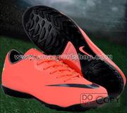 Ảnh số 47: Giày đá bóng sân cỏ nhân tạo NIKE MERCURIAL mới  cam - Giá: 450.000