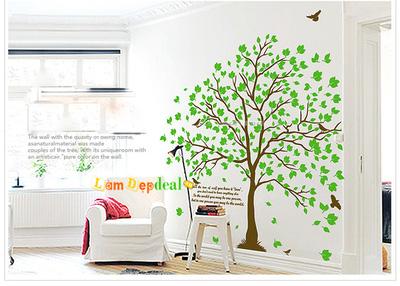 Decal dán tường cây xanh
