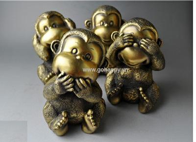 Bộ 4 chú khỉ bằng đồng màu vàng, Giá bán: 2.320.000 Đ