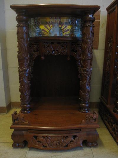 Tủ thần tài trạm gỗ Giáng Hương có Kỳ Lân 60 cm   98 cm