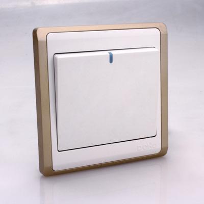 Công tắc điện DOBO, Seri V6.0 màu trắng viền vàng, mặt vuông