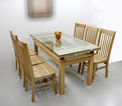 Bộ bàn ghế ăn gỗ sồi Nga giá rẻ cực hot Mã BA1