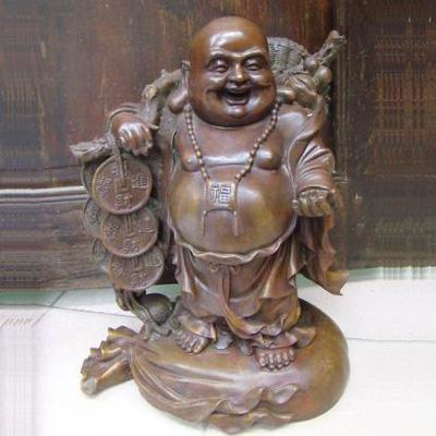 Tượng Phật di Lặc bằng đồng gánh tiền cao 40cm
