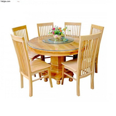 Bộ bàn ăn 06 ghế bàn tròn gỗ sồi Nga EPA 130