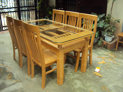 Bộ bàn ăn 6 ghế gỗ sồi nga EPA 145