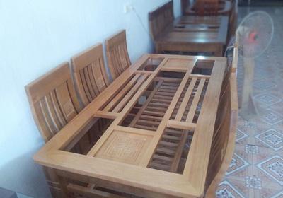 bàn ghế ăn 6 ghế gỗ sồi nga giá rẻ  bảo hành 2 năm