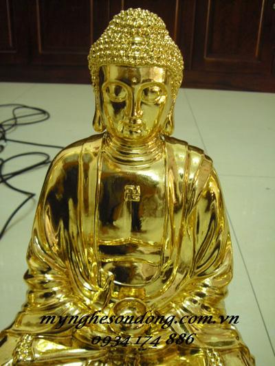 Tượng Phật A Di Đà Gỗ Mít Thếp Vàng