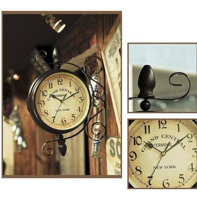 Đồng hồ phong cách cổ điển 2 mặt treo góc tường