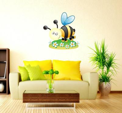 Decal dán tường kèm đèn ngủ con ong