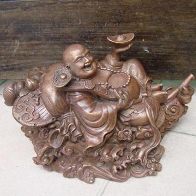 Tượng Phật Di Lạc ngồi quạt ba tiêu giả cổ bằng đồng