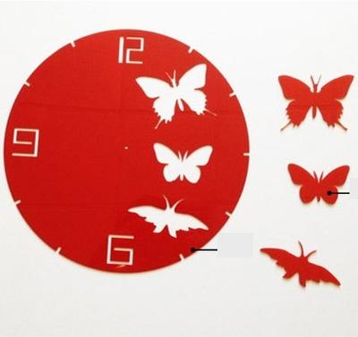 Đồng hồ  dán tường bướm tròn