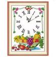 Tranh thêu chữ thập đồng hồ hoa quả