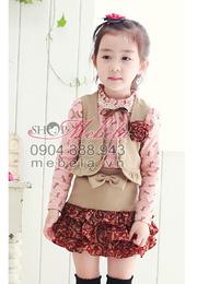 Ảnh số 30: V500 Bộ váy cho bé gái gồm 3 sp: áo thun, áo gilê và chân váy cực xinh sz 3-5 tuổi - Giá: 320.000