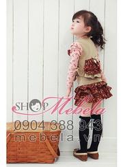 Ảnh số 37: V500 Bộ váy cho bé gái gồm 3 sp: áo thun, áo gilê và chân váy cực xinh sz 3-5 tuổi - Giá: 370.000