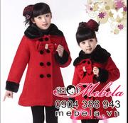 Ảnh số 57: AKG06 Áo khoác dạ cổ lông lót bông ấm áp thương hiệu Waboats cho bé gái khoảng 3-8 tuổi - Giá: 380.000