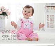 Ảnh số 55: BG505 Bộ set 3 gồm áo khoác nỉ liền mũ tai thỏ, áo nỉ cổ tròn bên trong và quần yếm nhung hình thỏ hồng cực xinh cho bé 7 -12 cân - Giá: 370.000