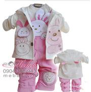 Ảnh số 56: BG505 Bộ set 3 gồm áo khoác nỉ liền mũ tai thỏ, áo nỉ cổ tròn bên trong và quần yếm nhung hình thỏ hồng cực xinh cho bé 7 -12 cân - Giá: 370.000