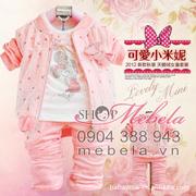 Ảnh số 64: BG504  bộ set 3 sp gồm áo khoác nhung pha voan in hoa nhí xinh xắn, áo nỉ hình Mini bên trong và quần nhung mềm mại cho bé 7-14cân - Giá: 360.000