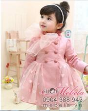 Ảnh số 14: V510 Áo khoác hồng 2 lớp dáng váy cổ gắn nơ ren, chân váy ren hình trái tim dễ thương cho bé 2 - 6 tuổi (12 - 22 cân) - Giá: 315.000