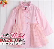 Ảnh số 15: V510 Áo khoác hồng 2 lớp dáng váy cổ gắn nơ ren, chân váy ren hình trái tim dễ thương cho bé 2 - 6 tuổi (12 - 22 cân) - Giá: 315.000