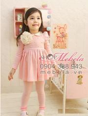 Ảnh số 16: V511 Váy thun hồng dài tay cổ sen gắn hoa xinh xắn cho bé 2,5 đến 7 tuổi (trên 13 cân) - Giá: 240.000