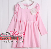 Ảnh số 17: V511 Váy thun hồng dài tay cổ sen gắn hoa xinh xắn cho bé 2,5 đến 7 tuổi (trên 13 cân) - Giá: 240.000