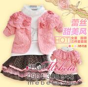 Ảnh số 23: V513 Bộ váy tiểu thư 3 chi tiết gồm áo khoác dài tay ren hồng gắn hoa, áo cao cổ trắng bên trong, chân váy chấm bi cực xinh cho bé 2 - 6 tuổi (trên 12 - Giá: 420.000