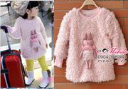 Ảnh số 5: AG503 Áo lông cừu lót lông dáng dài gắn thỏ hồng xinh xắn cho bé gái 16-18-20-22-24 cân - Giá: 260.000