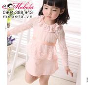 Ảnh số 53: V521 Váy dài tay ren hồng dễ thương cho bé 8-10-12-14 cân - Giá: 220.000