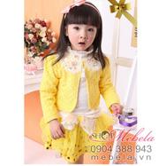 Ảnh số 74: V520 Bộ váy 3 chi tiết ren vàng xinh xắn cho bé gái 12-14-16-18 cân - Giá: 430.000