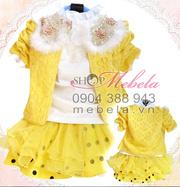 Ảnh số 75: V520 Bộ váy 3 chi tiết ren vàng xinh xắn cho bé gái 12-14-16-18 cân - Giá: 430.000