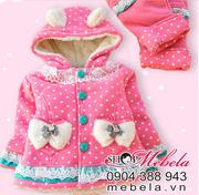 Ảnh số 3: BG514 Bộ quần áo chấm bi lót lông gắn 2 nơ xinh xắn ấm ấp cho bé 8-10-12 cân - Giá: 420.000