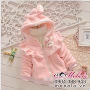Ảnh số 6: KG35 Áo khoác nhung lót lông cực mềm mại trang trí bèo nhún và thỏ trắng cực dễ thương cho bé 10-16 cân - Giá: 250.000