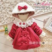 Ảnh số 11: KG26 Áo khoác bông né gái đỏ chấm bi liền mũ lông gắn nơ dày ấm xinh xắn 10-16 cân - Giá: 295.000