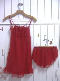 Ảnh số 11: bộ đầm voan mỏng màu đỏ - Giá: 55.000
