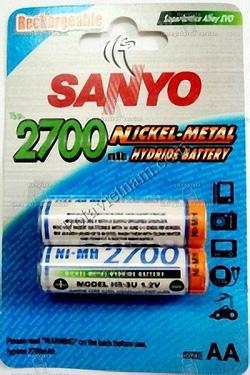 ?nh s? 11: Pin sạc điện, Pin tiểu AA, Pin NiMH, Pin 1.5V, Pin 2700 mAh, Pin sạc SANYO HR3U/2BP (1 Vỉ/ 2 Viên pin sạc) - Giá: 247.500