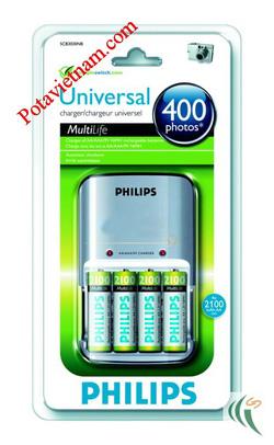 ?nh s? 12: Bộ, máy sạc điện pin thông dụng, sạc pin chậm theo tiêu chuẩn, hỗn hợp cho pin tiểu AA, pin đũa AAA 1.5V & pin vuông 9V, có kèm 4 viên pin AA - Philip - Giá: 410.000