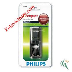 ?nh s? 13: Bộ, máy điện sạc pin thông dụng, sạc pin chậm theo tiêu chuẩn, 2 khay sạc pin, không kèm pin AA/AAA PHILIPS SCB1205NB - Giá: 105.000
