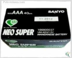 ?nh s? 22: Pin đũa AAA, Pin Carbonzinc, Pin thông dụng, Pin 1.5V, Pin SANYO UM4 - Xanh (1 Gói/ 2 Viên pin) - Giá: 8.200