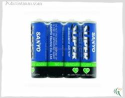?nh s? 23: Pin tiểu AA, Pin Carbonzinc, Pin thông dụng, Pin SANYO UM3 - Xanh (1 Gói/ 4 Viên pin) - Giá: 12.000
