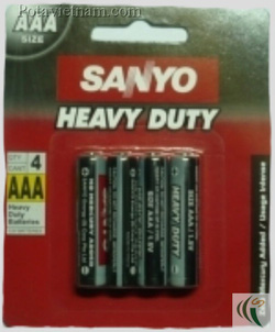 ?nh s? 38: Pin đũa AAA, Pin Carbonzinc, Pin thông dụng, Pin Sanyo heavy duty SSP-HC4AAASP - Đen (1 Gói/ 4 Viên pin) - Giá: 17.200