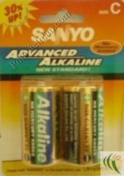 ?nh s? 46: Pin trung C, Pin thông dụng, Pin Alkaline Kiềm, Pin 1.5V, Pin Sanyo LR14/2BP (1 Gói/ 2 Viên pin) - Giá: 63.500